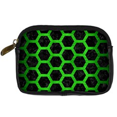 Hexagon2 Black Marble & Green Brushed Metal Digital Camera Cases