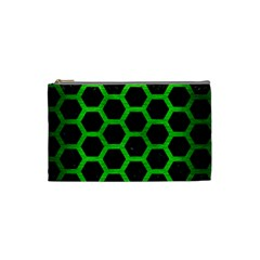 Hexagon2 Black Marble & Green Brushed Metal Cosmetic Bag (small)