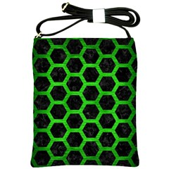 Hexagon2 Black Marble & Green Brushed Metal Shoulder Sling Bags
