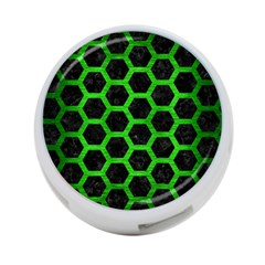 Hexagon2 Black Marble & Green Brushed Metal 4 Port Usb Hub (one Side)