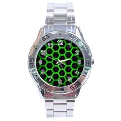 Hexagon2 Black Marble & Green Brushed Metal Stainless Steel Analogue Watch