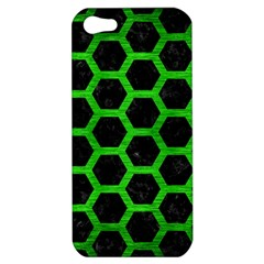 Hexagon2 Black Marble & Green Brushed Metal Apple Iphone 5 Hardshell Case