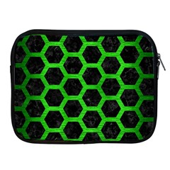 Hexagon2 Black Marble & Green Brushed Metal Apple Ipad 2/3/4 Zipper Cases