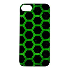 Hexagon2 Black Marble & Green Brushed Metal Apple Iphone 5s/ Se Hardshell Case