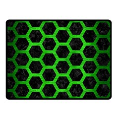 Hexagon2 Black Marble & Green Brushed Metal Double Sided Fleece Blanket (small)