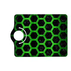 Hexagon2 Black Marble & Green Brushed Metal Kindle Fire Hd (2013) Flip 360 Case