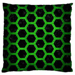 Hexagon2 Black Marble & Green Brushed Metal Standard Flano Cushion Case (one Side)