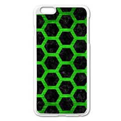 Hexagon2 Black Marble & Green Brushed Metal Apple Iphone 6 Plus/6s Plus Enamel White Case