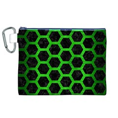 Hexagon2 Black Marble & Green Brushed Metal Canvas Cosmetic Bag (xl)