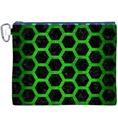 Hexagon2 Black Marble & Green Brushed Metal Canvas Cosmetic Bag (xxxl)