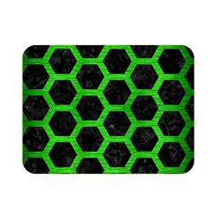 Hexagon2 Black Marble & Green Brushed Metal Double Sided Flano Blanket (mini)