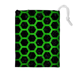Hexagon2 Black Marble & Green Brushed Metal Drawstring Pouches (extra Large)