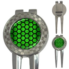 Hexagon2 Black Marble & Green Brushed Metal (r) 3 In 1 Golf Divots