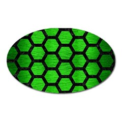 Hexagon2 Black Marble & Green Brushed Metal (r) Oval Magnet