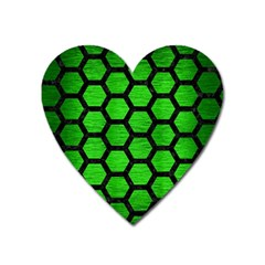 Hexagon2 Black Marble & Green Brushed Metal (r) Heart Magnet