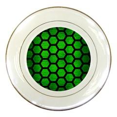 Hexagon2 Black Marble & Green Brushed Metal (r) Porcelain Plates