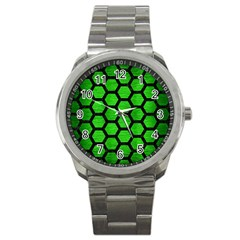 Hexagon2 Black Marble & Green Brushed Metal (r) Sport Metal Watch