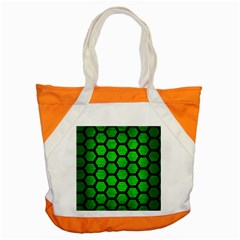Hexagon2 Black Marble & Green Brushed Metal (r) Accent Tote Bag