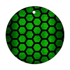 Hexagon2 Black Marble & Green Brushed Metal (r) Round Ornament (two Sides)