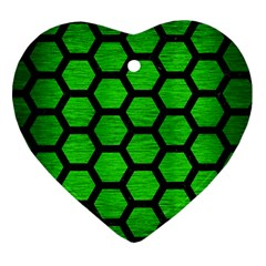 Hexagon2 Black Marble & Green Brushed Metal (r) Heart Ornament (two Sides)