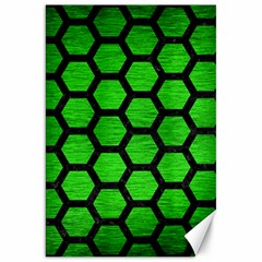Hexagon2 Black Marble & Green Brushed Metal (r) Canvas 20  X 30