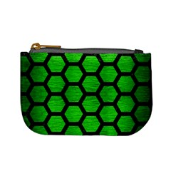 Hexagon2 Black Marble & Green Brushed Metal (r) Mini Coin Purses