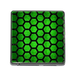 Hexagon2 Black Marble & Green Brushed Metal (r) Memory Card Reader (square)