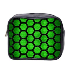 Hexagon2 Black Marble & Green Brushed Metal (r) Mini Toiletries Bag 2 Side