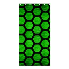 Hexagon2 Black Marble & Green Brushed Metal (r) Shower Curtain 36  X 72  (stall)