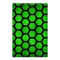 Hexagon2 Black Marble & Green Brushed Metal (r) Shower Curtain 48  X 72  (small)