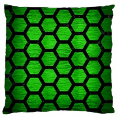 Hexagon2 Black Marble & Green Brushed Metal (r) Large Cushion Case (two Sides)