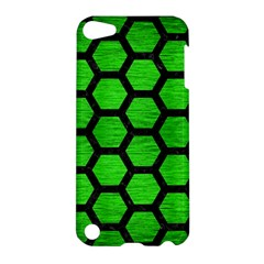 Hexagon2 Black Marble & Green Brushed Metal (r) Apple Ipod Touch 5 Hardshell Case
