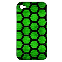 Hexagon2 Black Marble & Green Brushed Metal (r) Apple Iphone 4/4s Hardshell Case (pc+silicone)