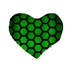 Hexagon2 Black Marble & Green Brushed Metal (r) Standard 16  Premium Heart Shape Cushions