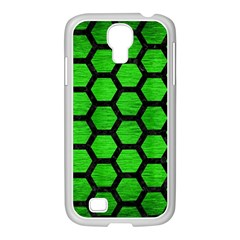 Hexagon2 Black Marble & Green Brushed Metal (r) Samsung Galaxy S4 I9500/ I9505 Case (white)