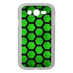 Hexagon2 Black Marble & Green Brushed Metal (r) Samsung Galaxy Grand Duos I9082 Case (white)