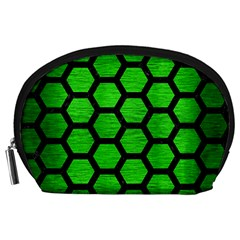 Hexagon2 Black Marble & Green Brushed Metal (r) Accessory Pouches (large)