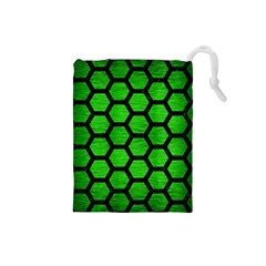 Hexagon2 Black Marble & Green Brushed Metal (r) Drawstring Pouches (small)