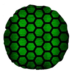 Hexagon2 Black Marble & Green Brushed Metal (r) Large 18  Premium Flano Round Cushions