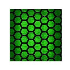 Hexagon2 Black Marble & Green Brushed Metal (r) Small Satin Scarf (square)