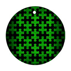 Puzzle1 Black Marble & Green Brushed Metal Ornament (round)