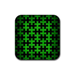 Puzzle1 Black Marble & Green Brushed Metal Rubber Coaster (square)