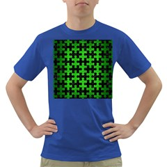 Puzzle1 Black Marble & Green Brushed Metal Dark T Shirt