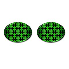 Puzzle1 Black Marble & Green Brushed Metal Cufflinks (oval)
