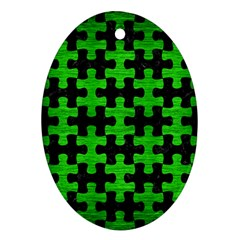 Puzzle1 Black Marble & Green Brushed Metal Oval Ornament (two Sides)