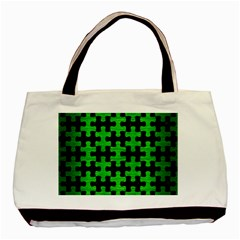 Puzzle1 Black Marble & Green Brushed Metal Basic Tote Bag (two Sides)