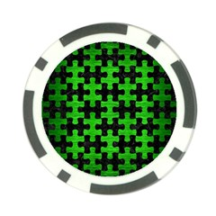 Puzzle1 Black Marble & Green Brushed Metal Poker Chip Card Guard