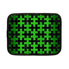 Puzzle1 Black Marble & Green Brushed Metal Netbook Case (small)