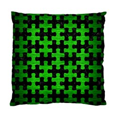 Puzzle1 Black Marble & Green Brushed Metal Standard Cushion Case (two Sides)