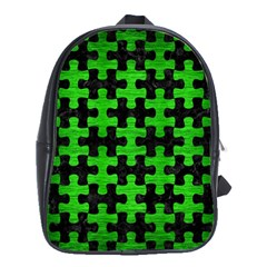 Puzzle1 Black Marble & Green Brushed Metal School Bag (large)